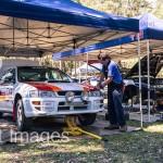 Subaru WRX rally car in service Safari rally