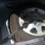 Silvia rally car spare wheel tie down