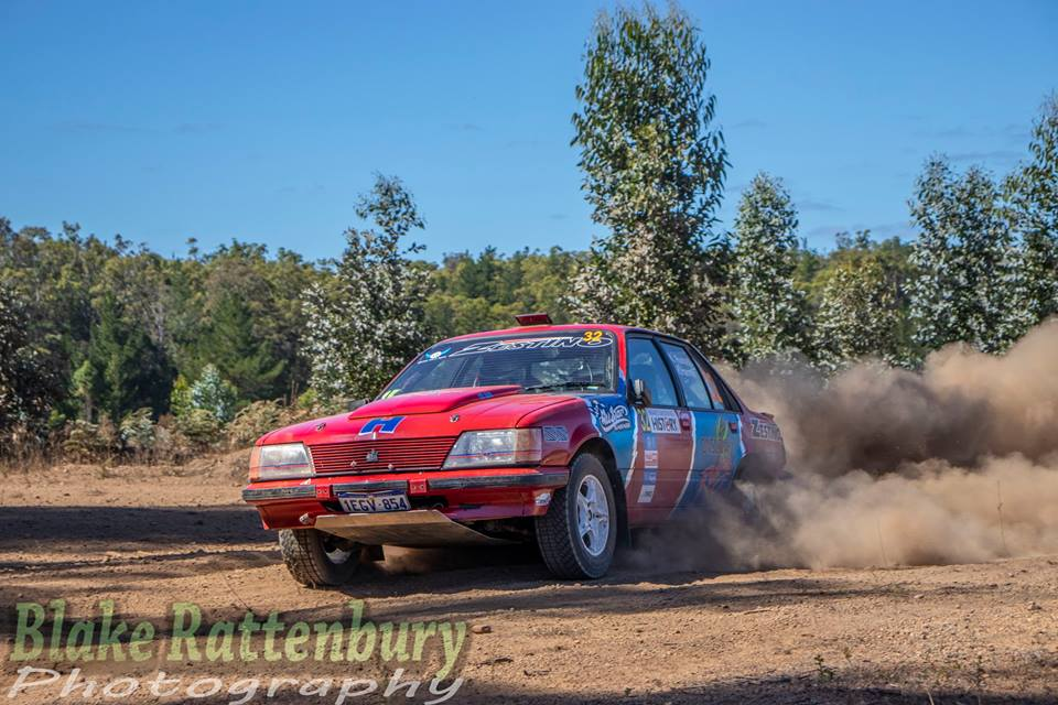 Hugh Harmer and Karen Russell had fun all weekend in their V8 Commodore at the Forest. Unfortunately a mechanical failure stopped them before the last stage.