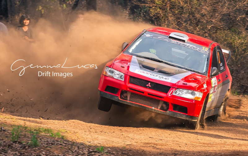 Peter Major/Kim Screaigh on two wheels in the Evo on SS1 of the 2019 Darling 200 rally.