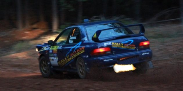 Anti lag firing on our WRX STi rally car