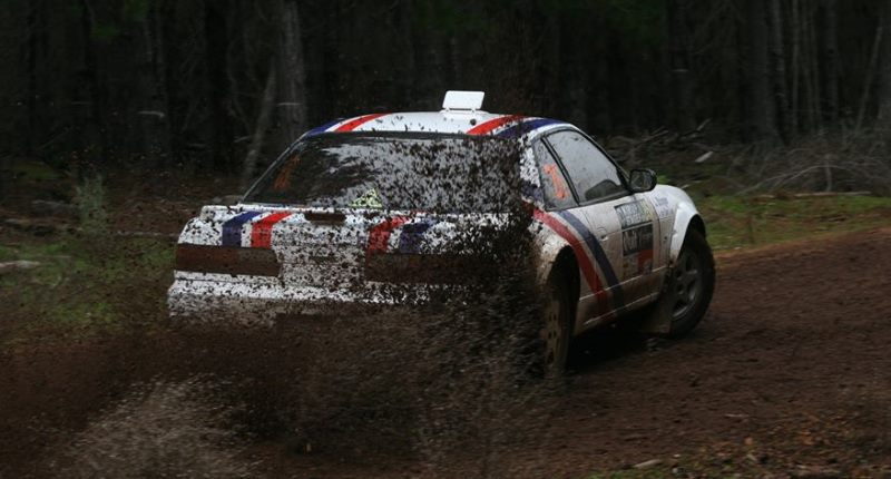 Slipping and sliding on a muddy stage in a rally race
