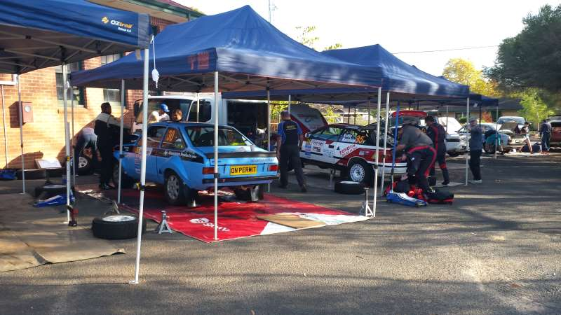 Rally racing service area. We're working on our team cars at the Forest Rally.