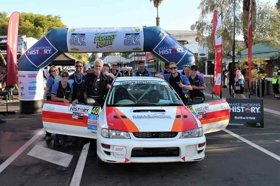 At the finish of the Forest Rally with one of our WRX rally cars.