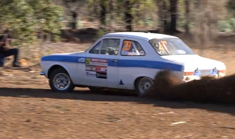 Sideways on a WA Rally stage in a Mk1 Escort.