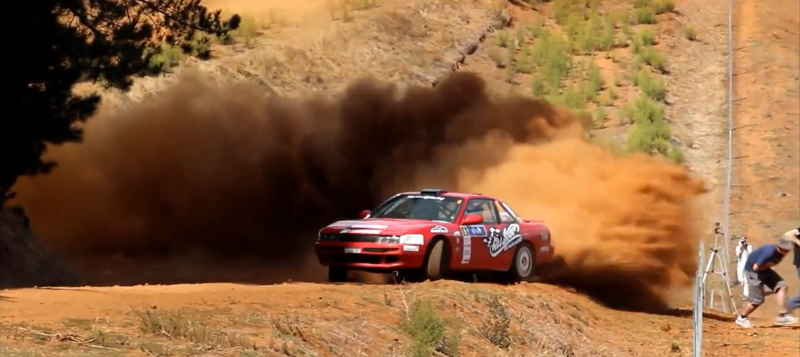Sean Keating and Cash showering photographers in dust at the 2014 Forest Rally