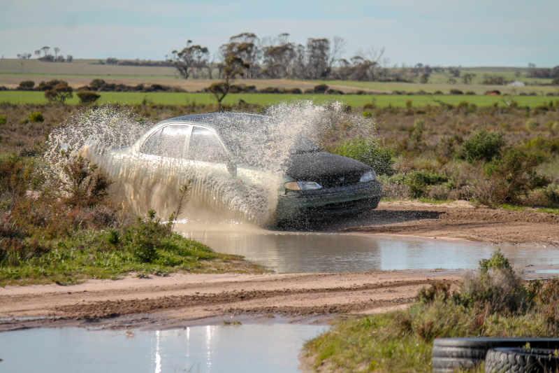 Bob Percival tackling a big puddle at Khanacross series round 3