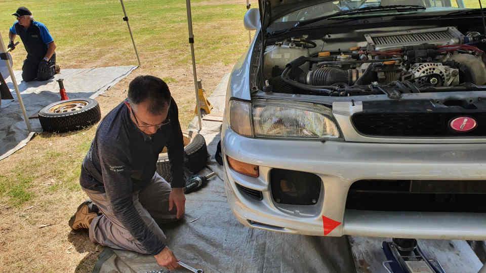 Servicing a WRX rally car on the 2020 Safari Darling rally